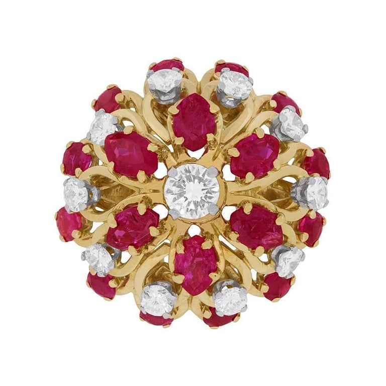 Kutchinsky Diamond and Ruby Cluster Ring, circa 1960s