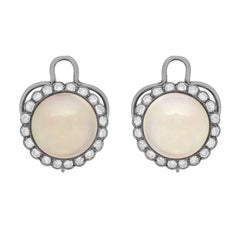 Art Deco Pearl and Diamond Cluster Clip-On Earrings, circa 1920s