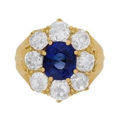 Victorian Sapphire and Diamond Cluster Ring, circa 1900s
