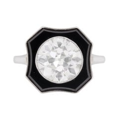 Art Deco 3.30 Carat Diamond and Onyx Ring, circa 1920s