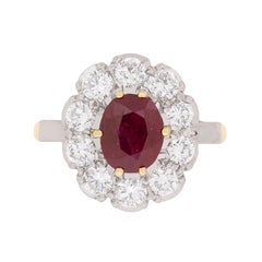 Vintage Ruby and Diamond Cluster Ring, circa 1940s