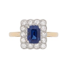 Edwardian Sapphire and Diamond Cluster Ring, circa 1910
