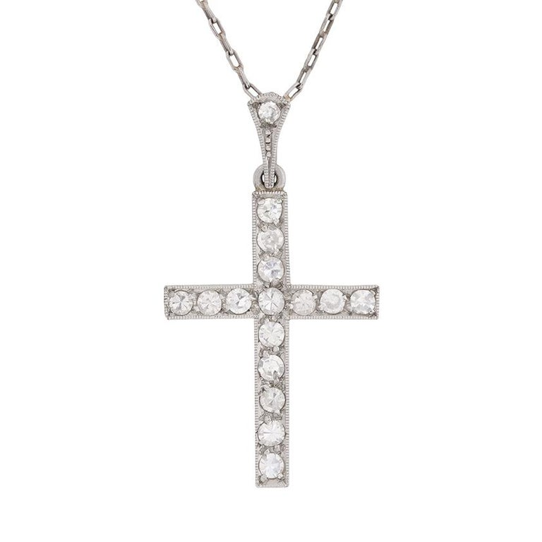 Art Deco Diamond Cross Pendant, circa 1920s