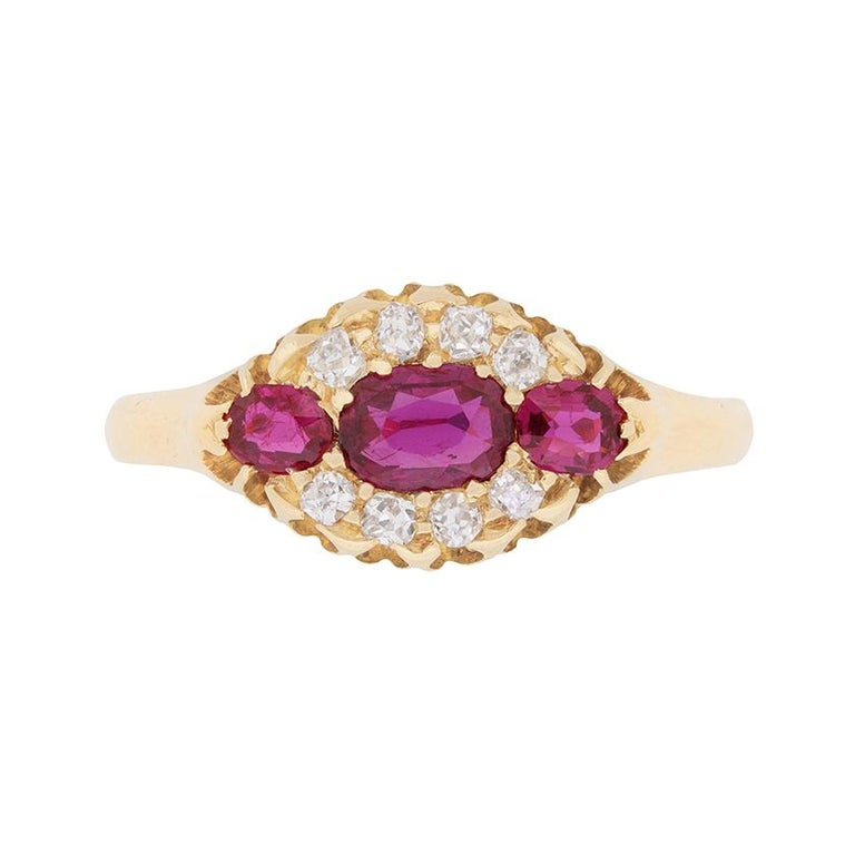 Victorian Ruby and Diamond Cluster Ring, circa 1900s