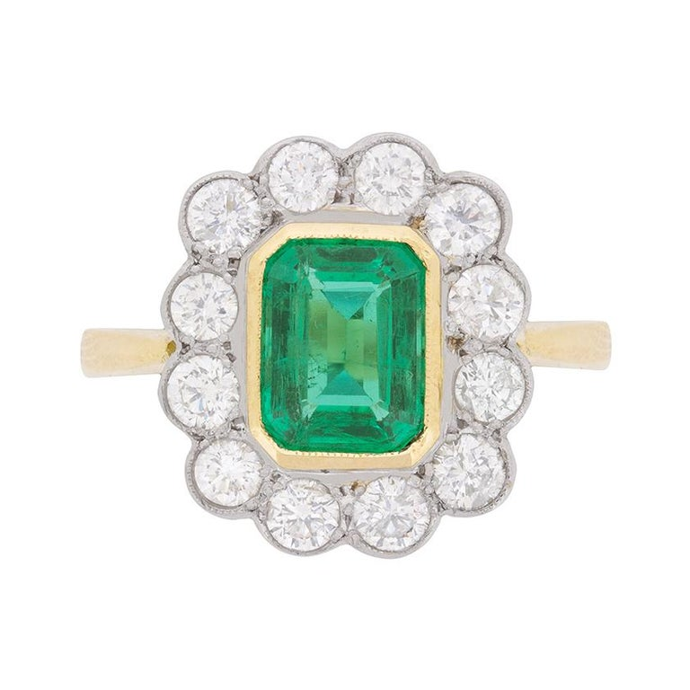Vintage Emerald and Diamond Cluster Ring, circa 1950s