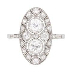 Art Deco Inspired Diamond Cluster Ring, circa 1950s