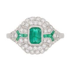 Late Deco Emerald and Diamond Bombe Style Cluster Ring, circa 1940s