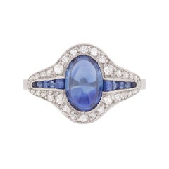 Art Deco Cabochon Cut Sapphire and Diamond Cluster Ring, circa 1920s