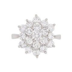 Vintage 2.30 Carat Diamond Cluster Dress Ring, circa 1970s