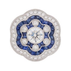 Vintage Diamond and Sapphire Floral Cluster Ring, circa 1950s