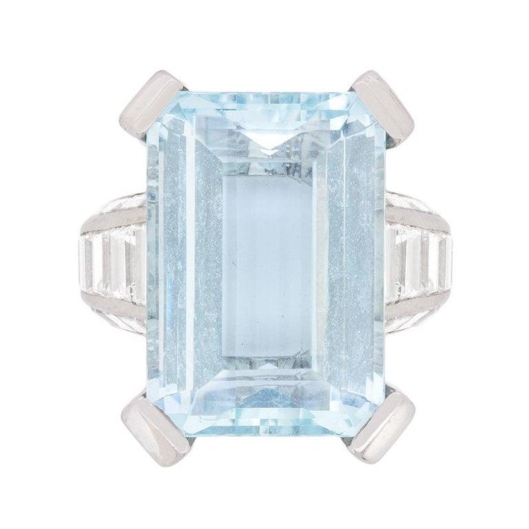 Mauboussin Aquamarine and Diamond Dress Ring, circa 1970s For Sale