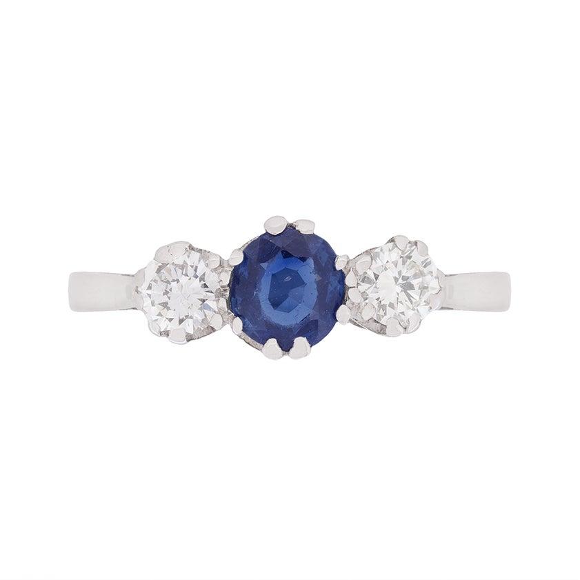 Art Deco Diamond and Sapphire Three-Stone Ring, circa 1930s