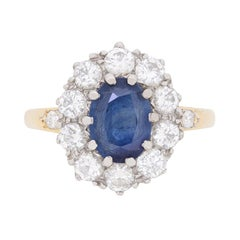 Vintage Sapphire and Diamond Cluster Dress Ring, circa 1950s