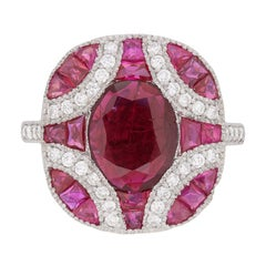 Vintage Ruby and Diamond Cluster Dress Ring, circa 1950s