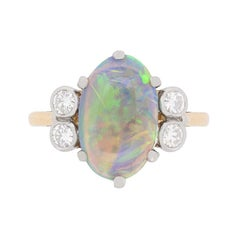 Late Art Deco Opal and Diamond Dress Ring, circa 1940s