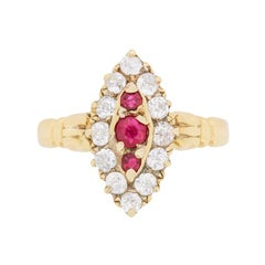 Edwardian Ruby and Diamond Cluster Ring, circa 1910