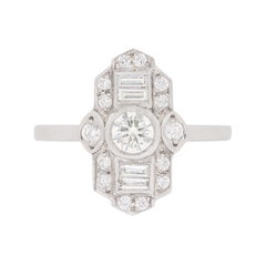 Art Deco Inspired Diamond Cluster Ring, circa 1950s