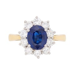Vintage Sapphire and Diamond Cluster Ring, circa 1960s