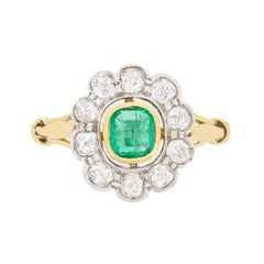 Victorian Emerald and Diamond Cluster Ring, circa 1900s