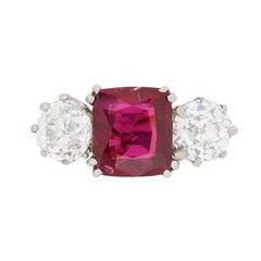 Art Deco Ruby and Diamond Three-Stone Ring, circa 1920s