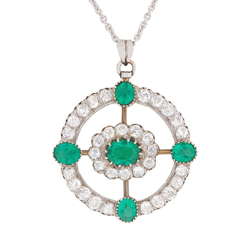 Art Deco Emerald and Diamond Cluster Pendant, circa 1920s