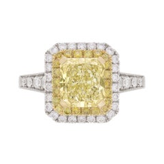 GIA Certified Fancy Yellow Double Diamond Halo Engagement Ring