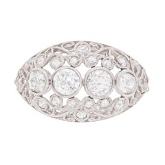 Art Deco Diamond Filigree Cluster Ring, circa 1920s