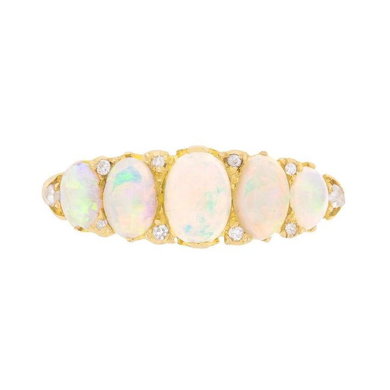 Edwardian Opal and Diamond Carved Shank Ring, circa 1902