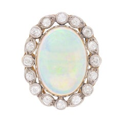 Edwardian Opal and Diamond Cluster Ring, circa 1910