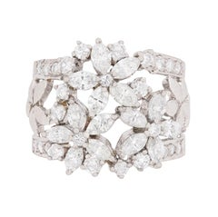 Marquise and Round Brilliant Diamond Cluster Ring