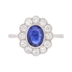 Late Deco Sapphire and Diamond Daisy Cluster Ring, circa 1940s