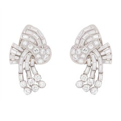 Deco Diamond Cluster Earrings, circa 1930s