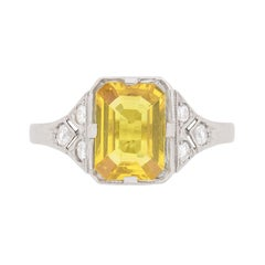 Vintage Yellow Sapphire and Diamond Ring, circa 1950s