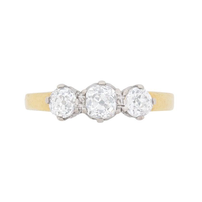 Antique 1.00 Carat Three-Stone Old Cut Diamond Ring, circa 1920s