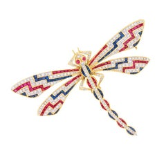Vintage Diamond, Sapphire and Ruby Dragonfly Brooch, circa 1950s