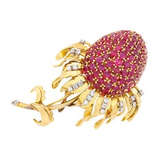 Vintage Ruby and Diamond Thistle Brooch, circa 1960s
