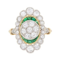 Edwardian Diamond and Emerald Cluster Ring, circa 1910