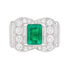 Art Deco Emerald and Diamond Cocktail Ring, circa 1920s