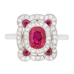 Art Deco Natural Ruby and Diamond Ring, circa 1920s