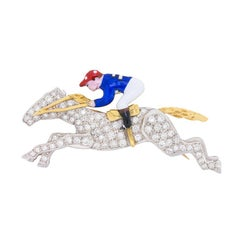 Vintage Diamond Horse with Jockey Brooch, circa 1950s