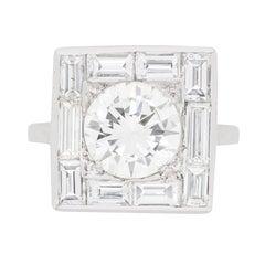 3.00 Carat Late Deco Diamond Cluster Ring, circa 1930s