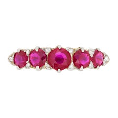Victorian Five-Stone Ruby and Diamond Ring, circa 1900s