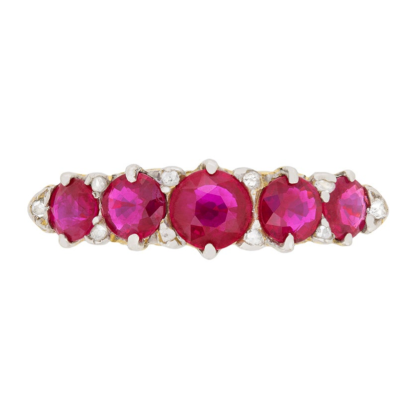 Victorian Five-Stone Ruby and Diamond Ring, circa 1900s