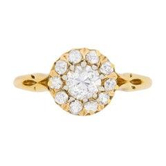 Victorian Diamond Halo Cluster Ring, circa 1900s