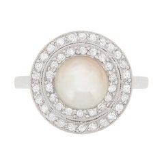 Art Deco Pearl and Diamond Double Halo Ring, circa 1920s
