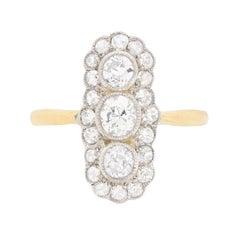 Edwardian Vertically Set Three-Stone Diamond Ring, circa 1910