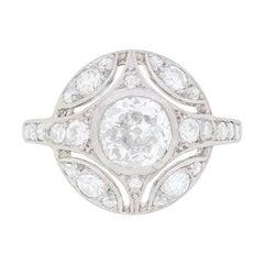Late Art Deco Diamond Cluster Ring, circa 1930s
