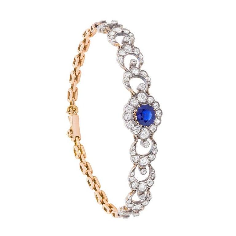 Edwardian Sapphire and Diamond Bracelet, circa 1910 For Sale