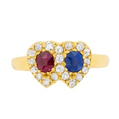 Victorian Sapphire, Ruby and Diamond Heart Cluster Ring, circa 1880s