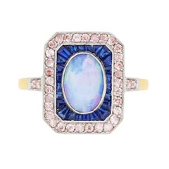 Art Deco Opal, Sapphire and Pink Diamond Cluster Ring, circa 1920s